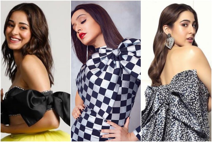 Ananya Pandey, Shraddha Kapoor And Sara Ali Khan Wearing Outfits With Bows (Source: Instagram   @stylebyami, @tanghavri, @lakshmilehr)