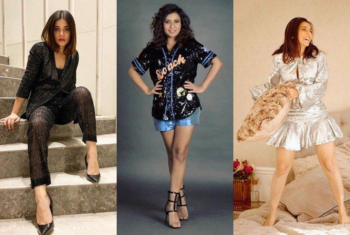 Styling Sequins, Roshni Bhatia, Malini Agarwal and Masoom Minawala | (Source: Instagram | @thechiquefactor, @teamrishikadevnani, @masoomminawala)