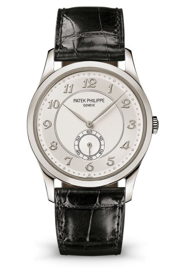 A silver watch with a grey face