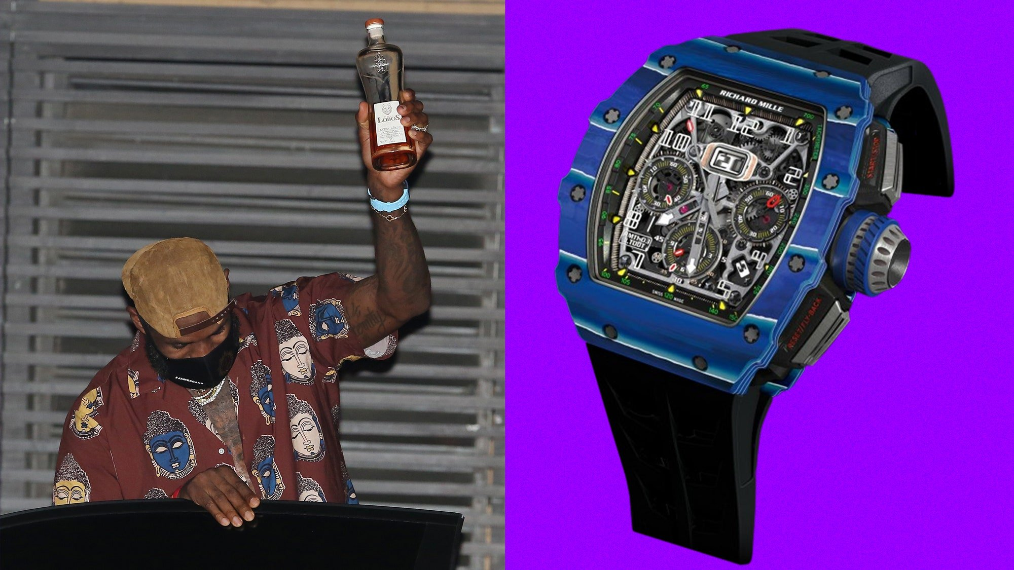Lebron James celebrating his championship and a blue richard mille
