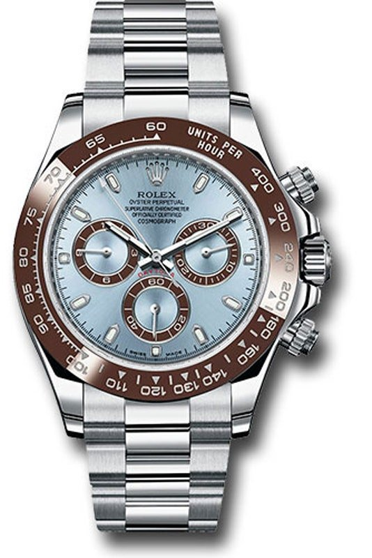 A silver rolex with a brown bezel and light blue face