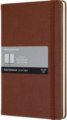 moleskin notebook with brown cover